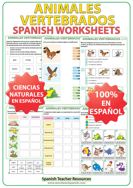 Animales Vertebrados - Spanish Worksheets