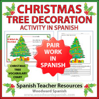Christmas Tree Decoration Pair Work Activity in Spanish