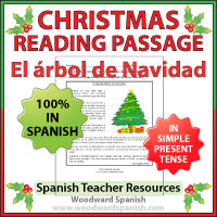 A reading passage about the family Christmas Tree in Spanish