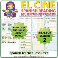 Spanish Reading with comprehension questions about EL CINE