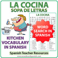 Spanish Kitchen Vocabulary Word Search - La Cocina - Sopa de Letras