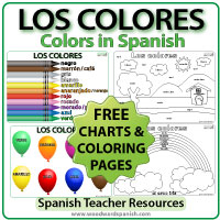 Colors in Spanish - Free Coloring pages and chart