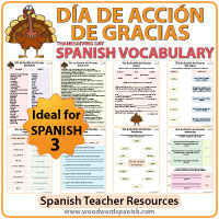 Thanksgiving Day Spanish Vocabulary with worksheets - Vocabulario del Día de Acción de Gracias con ejercicios