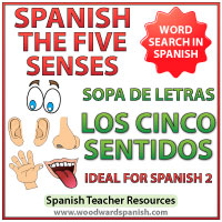 Five senses in Spanish word search - Los cinco sentidos en español - sopa de letras
