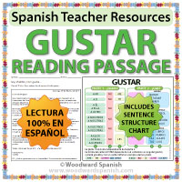 Verb Gustar Reading Passage with worksheets to practice this verb