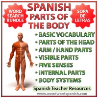 Parts of the Body in Spanish Word Search Activities