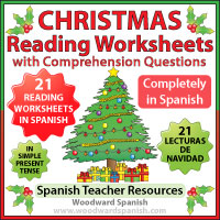 21 Reading Comprehension Worksheets in Spanish about Christmas