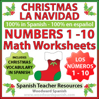 Spanish Math Worksheets - Counting Numbers 1 to 10 - Christmas Theme
