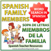 Family Members in Spanish Word Search - Sopa de letras - Miembros de la Familia