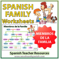 Spanish Family Tree Worksheets and Wall Chart - Ejercicios con vocabulario de la familia en español