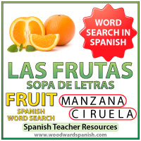 Spanish Fruit Word Search - Sopa de letras de las frutas