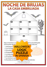 Spanish Halloween Logic Puzzle Worksheet