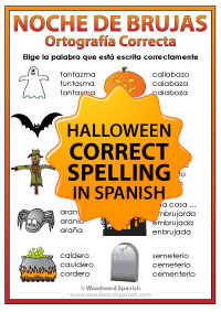 Spanish Halloween Correct Spelling worksheets