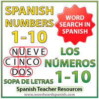 Spanish Numbers 1-10 Word Search Worksheet