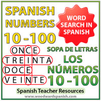 Spanish Numbers 10-100 Word Search Worksheet