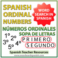 Spanish Ordinal Numbers Word Search Worksheet