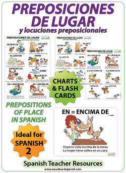 Spanish Prepositions of Place Charts