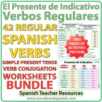 Spanish Present Tense Regular Verbs Worksheets - Presente de Indicativo