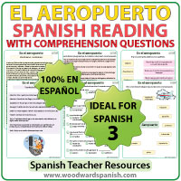 Spanish Reading with vocabulary about Airports. - Lectura del aeropuerto en español