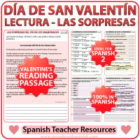 Valentine's Day Reading Passage in Spanish - Lectura del Día de los Enamorados