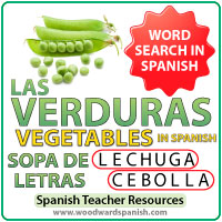 Sopa de letras de las verduras en español - Spanish Vegetables Word Search
