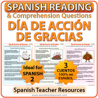 Spanish Reading Passages about Thanksgiving - Día de Acción de Gracias