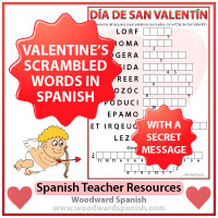 Valentine's Day Scrambled Spanish Words with Secret Message Worksheet